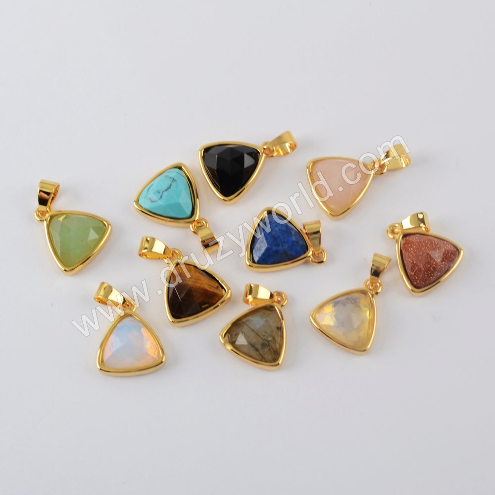 Natural Multi-kind Stones Pendant Charm Supplies Gold Plated WX1298