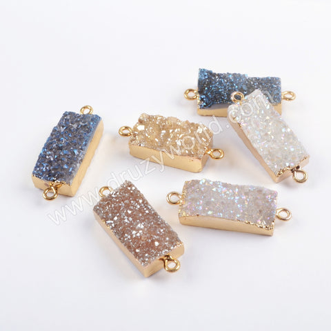 Rectangle Gold Plated Titanium Rainbow Agate Druzy Connector G1694