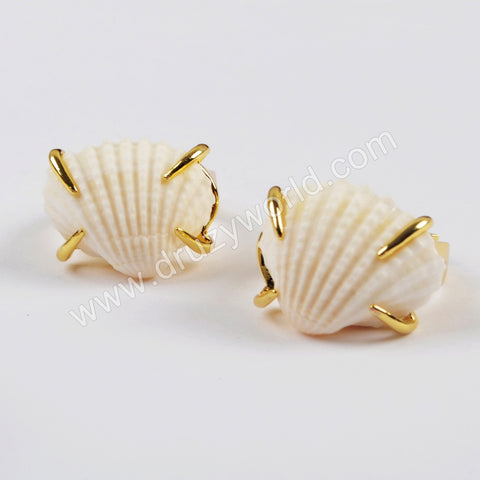Gold Plated Clap Fan Shell Ring ZG0426