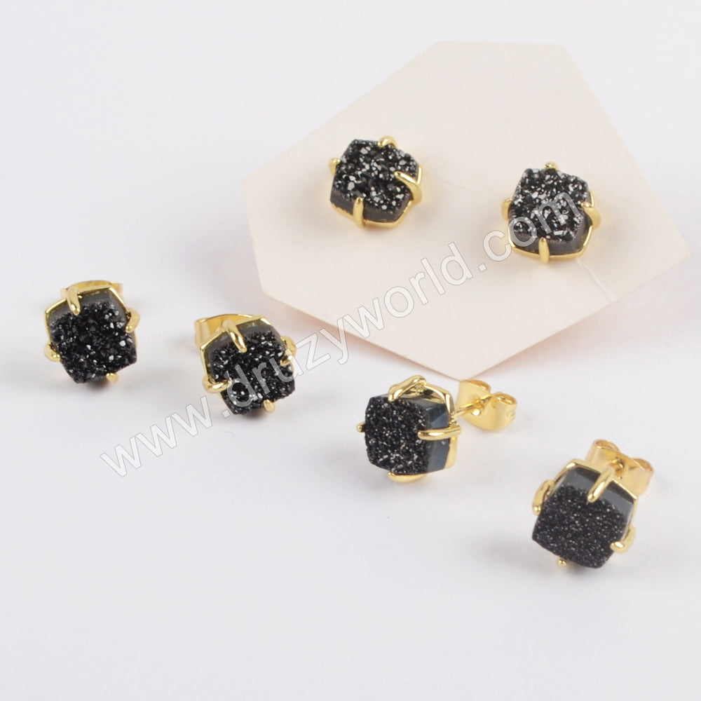 8mm Square Gold Plated Claw Natural Agate Titanium Black Druzy Stud Earrings ZG0429