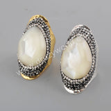 Tear Drop Gold Plated Rhinestone Pave Natural Facted White Shell Ring JAB959