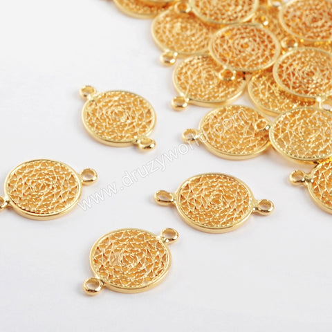 12mm Round Shape Gold Plated Brass Hollow Connector PJ096