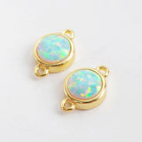 9mm Round Gold Plated Bezel White Opal Faceted Charm Connector ZG0300/ZG0301