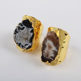 Natural Agate Druzy Open Band Ring Silver Plated S1388
