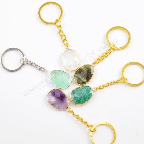 Funny Bezel Gemstone Beads Key Chain Bag Decor Gift For Mon HD0013