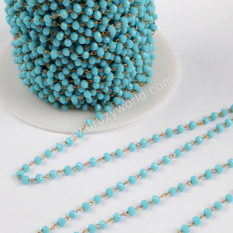 5m/lot,3mm Blue Glass Beads Chains  JT170