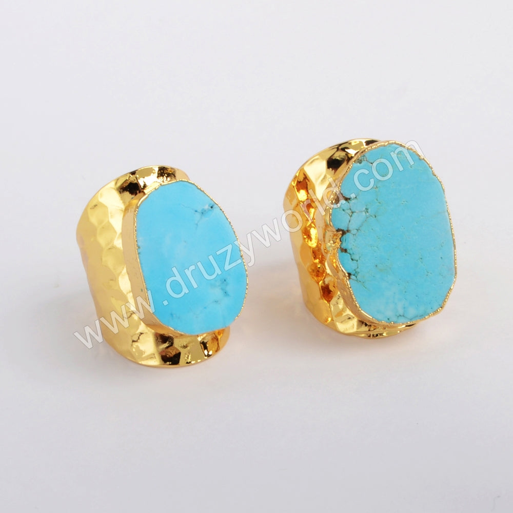 Blue Howlite Turquoise Ring Gold Plated Freeform Turquoise Jewelry Gemstone Ring G0208