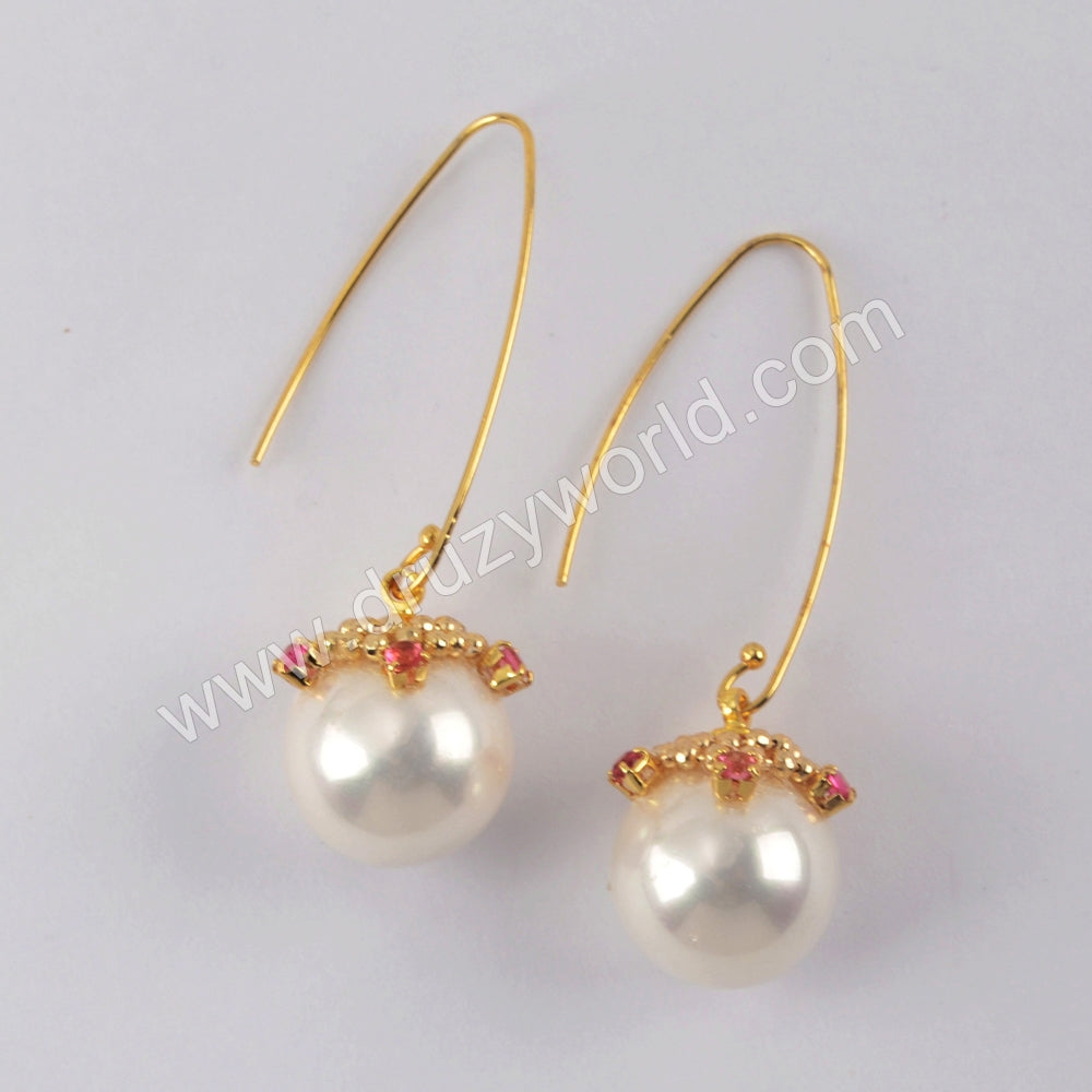 Natural Pearl with Multi CZ Charm Earrings Gold Plated WX1313-E