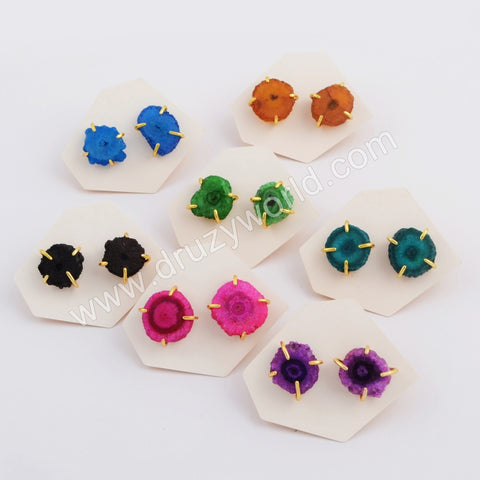 Gold Bezel Rainbow Freedom Natural Solar Quartz Stone Studs WX1084