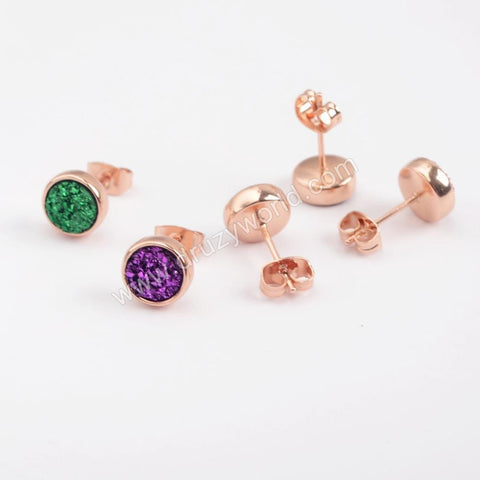 8mm Round Natural Agate Titanium Rainbow Rose Gold Druzy Geode Stud Earrings  ZR0328