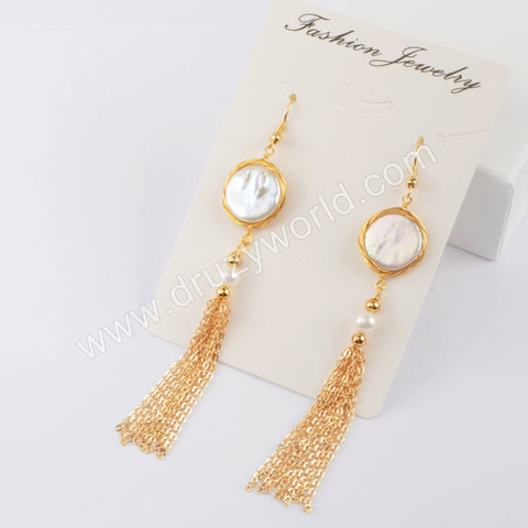 Natural Pearl Wire Wrap Tassel Earrings WX1214