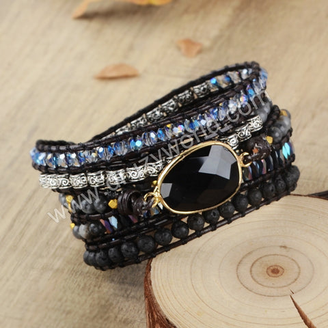 Hand Made Gypspy Bohemian Leather Gemstone Beaded Wrap Bracelet HD0112