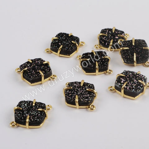 Diamond Gold Plated Claw Natural Agate Titanium Black Druzy Connector ZG0430