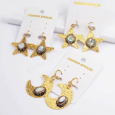 Rhinestone Pave Multi-kind Stone Dangle Earrings JAB805
