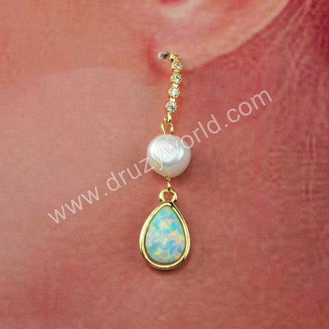 Natural Pearl White Opal Earrings Fashion Earrings For Women Gold Plated HD0190