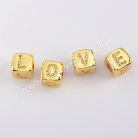 26 Letter Clear Zircon initial Gold Plated Bead For Jewelry Handmade WX1285