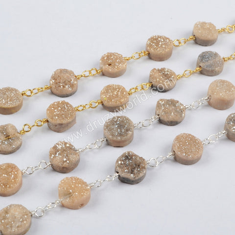 1 meter Gold Plated Or Silver Plated 10mm Round Agate Titanium Champagne Druzy Beads Wire Wrapped Rosary Chain JT156
