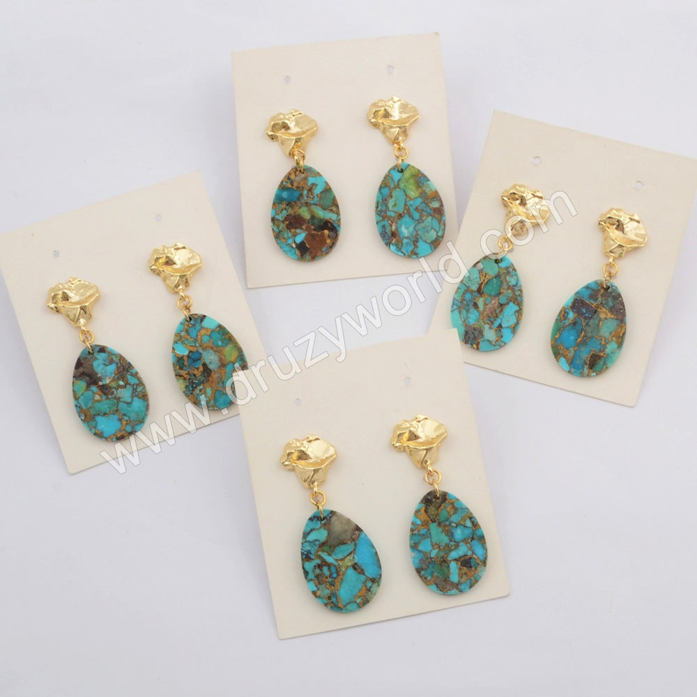 Teardrop Gold Plated Copper Turquoise Earrings G1796