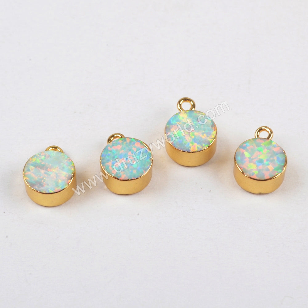 7mm Round Gold Plated White Opal Charm G1469
