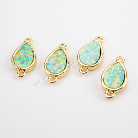 Teardrop Gold Plated Blue Opal Bezel Connector Double Bails ZG0271