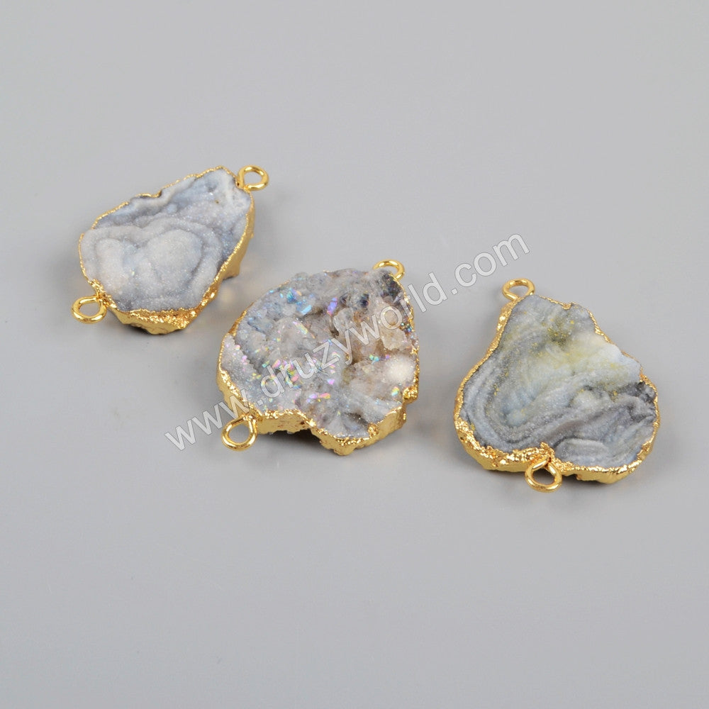 Gold Plated Freedom Titanium AB Galaxy Quartz Connector G1227