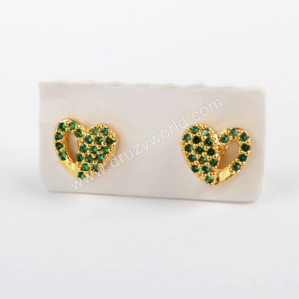 CZ Micro Pave Green Crystal Heart Earrings WX917