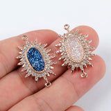 CZ Micro Pave Crystal Man-made Druzy Rose Gold Connector WX892