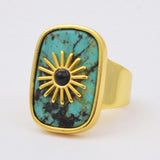 Natural Shell African Turquoise Stone Gold Rings WX1765