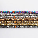 3mm Rainbow Titanium Hematite Faceted Loose Bead LS018