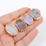 Gold Plated Natural Agate Druzy Geode Pendant Bead G0882