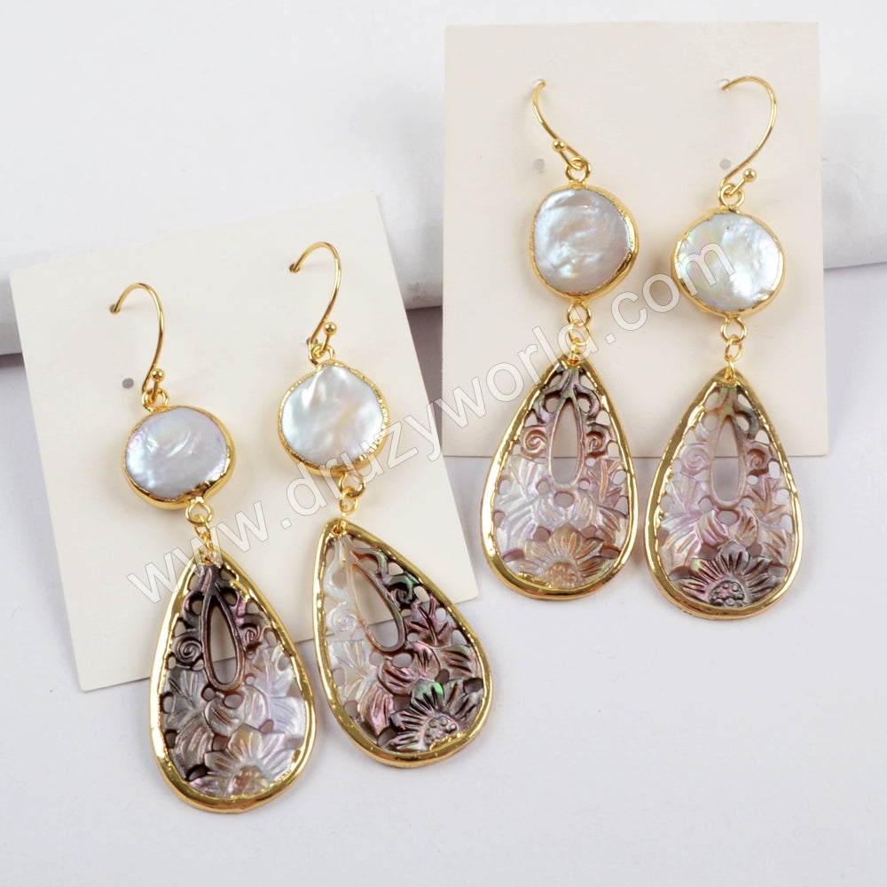 Gold Plated Round White Pearl & Teardrop Shell Carved Earrings G1596