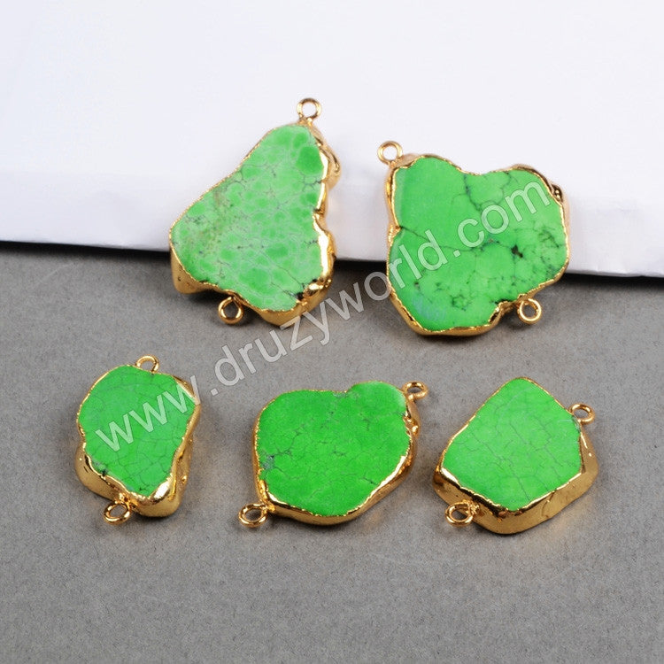 Gold plated freeform green turquoise slice connector