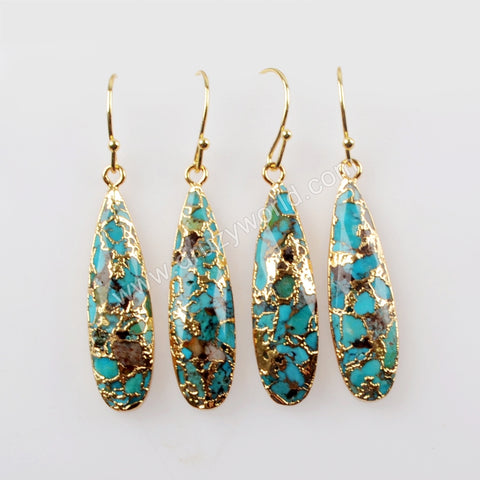 Teardrop Gold Plated Natural Copper Turquoise Earrings G1547-E