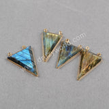 Gold Plated Triangle Natural Labradorite Faceted Connector Double Bails G0479