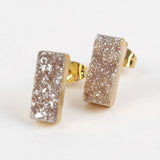 Gold Plated Rectangle Titanium  Druzy Studs G1223