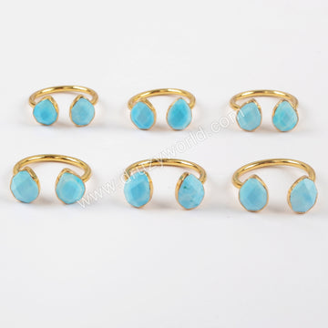 Gold Plated Teardrop Double Blue Turquoise Faceted Ring G1451