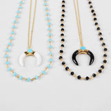 Gold Plated White Agate Crescent Double Horn Layer Necklace Paved Turquoise With Blue Beads Chain G0955