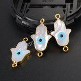 Gold Plated Plam Natural White Shell Evil Eye Connector G1038