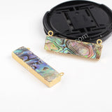 Gold Plated Natural Rectangle Abalone Shell Connector Double Bails G0854
