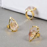 Gold Plated Rough Natural Arrowhead Quartz Arrowhead Ring G0706