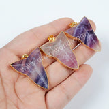 Gold Plated Natural Arrow Multi-Color Fluorite Faceted Pendant Bead G0563