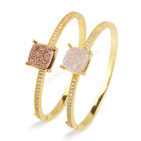 12mm Square Gold Plated Brass Colorful Natural Agate Titanium Druzy Bangle With White Zircon ZG095