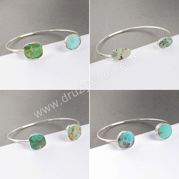 Silver Plated Double Freeform Shape Natural Turquoise Adjustable Bangle