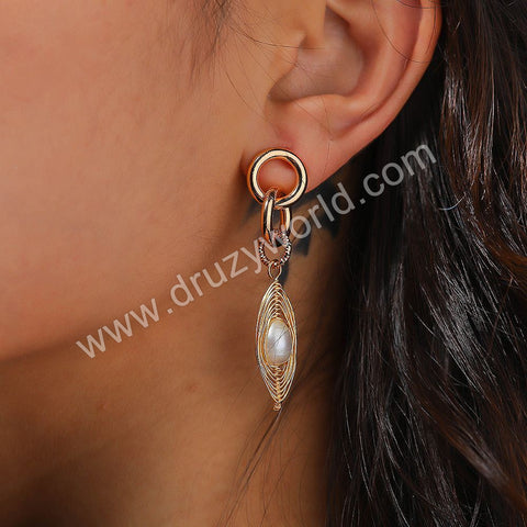 Gold Plated Wire Wrap Pearl Stud Earrings WX1669