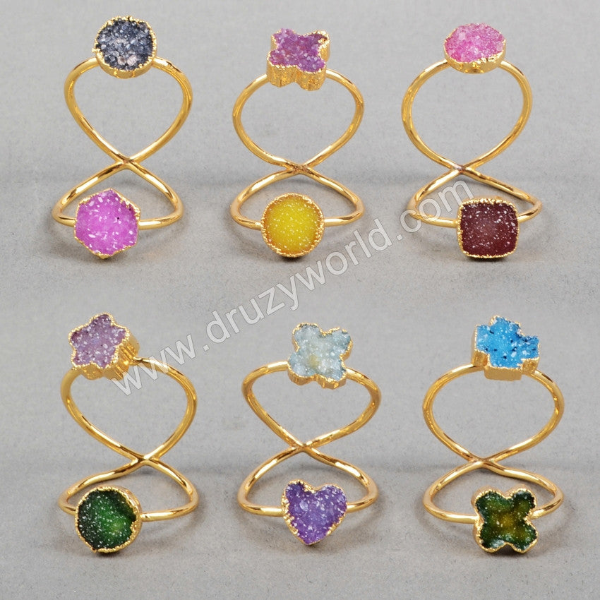 Gold Plated Double Rainbow Agate Druzy Twisted Ring Full Finger Ring