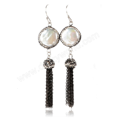Round Natural Pearl Dangle Earrings Paved Zircon With Black Chain Tassel JAB157