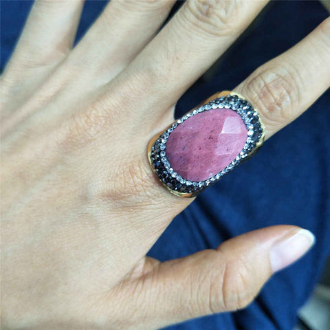 9.0 Large Size Stainless Steel Gold Rhodochrosite Ring
