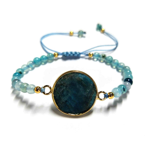 Natural Blue Apatite Handmade Adjustable Beaded Bracelet HD0385