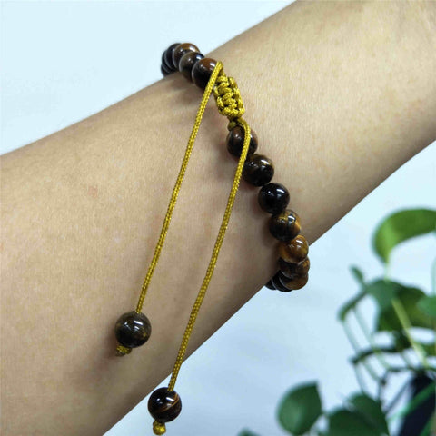 6mm Natural Labradorite Beaded Adjustable Bracelet HD0384