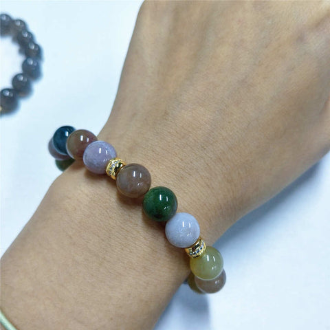 10mm Natural Agate Tiger Eye Beaded Bracelet  AL200